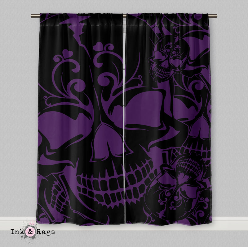 Purple and Black Collage Skull Curtains or Sheers