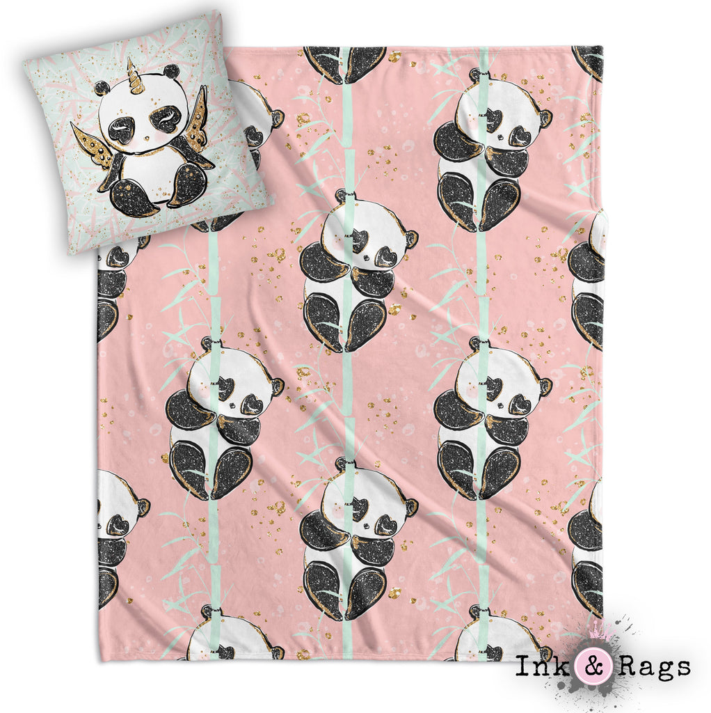 Morning Panda Pandacorn Decorative Throw and Pillow Cover Set