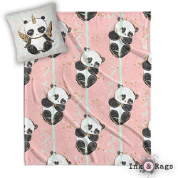 Morning Panda Pandacorn Decorative Throw and Pillow Set WHITE