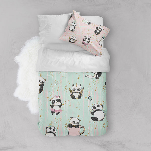 Morning Panda Crib and Toddler Size Comforter Sets