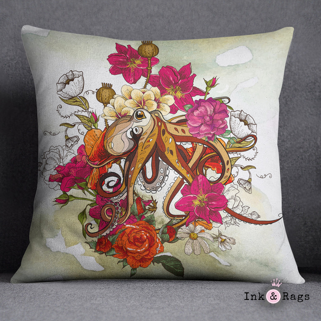 Octopus and Flowers Decorative Throw and Pillow Cover Set