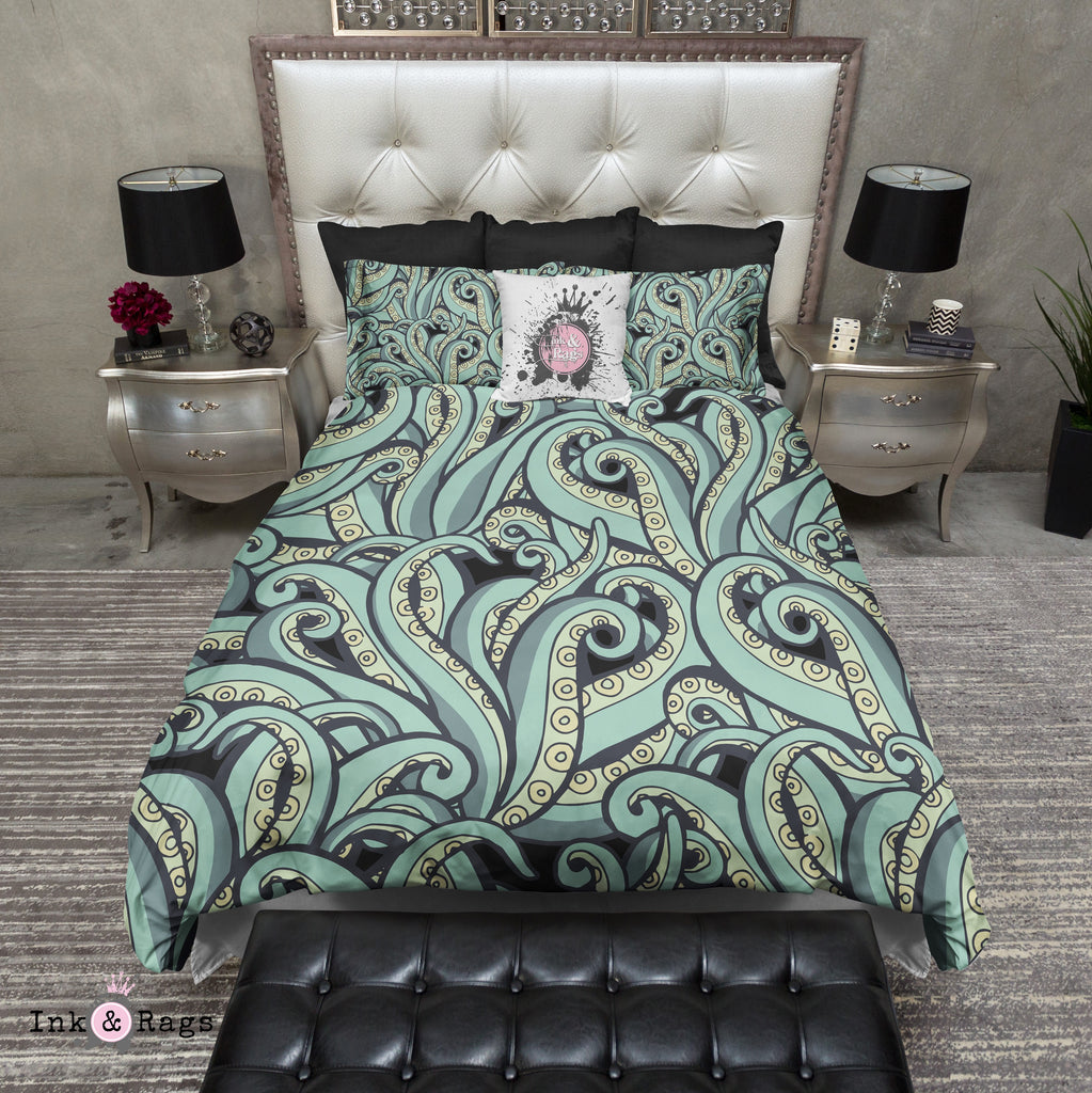 Sage Green Octopus Tentacle Bedding Collection