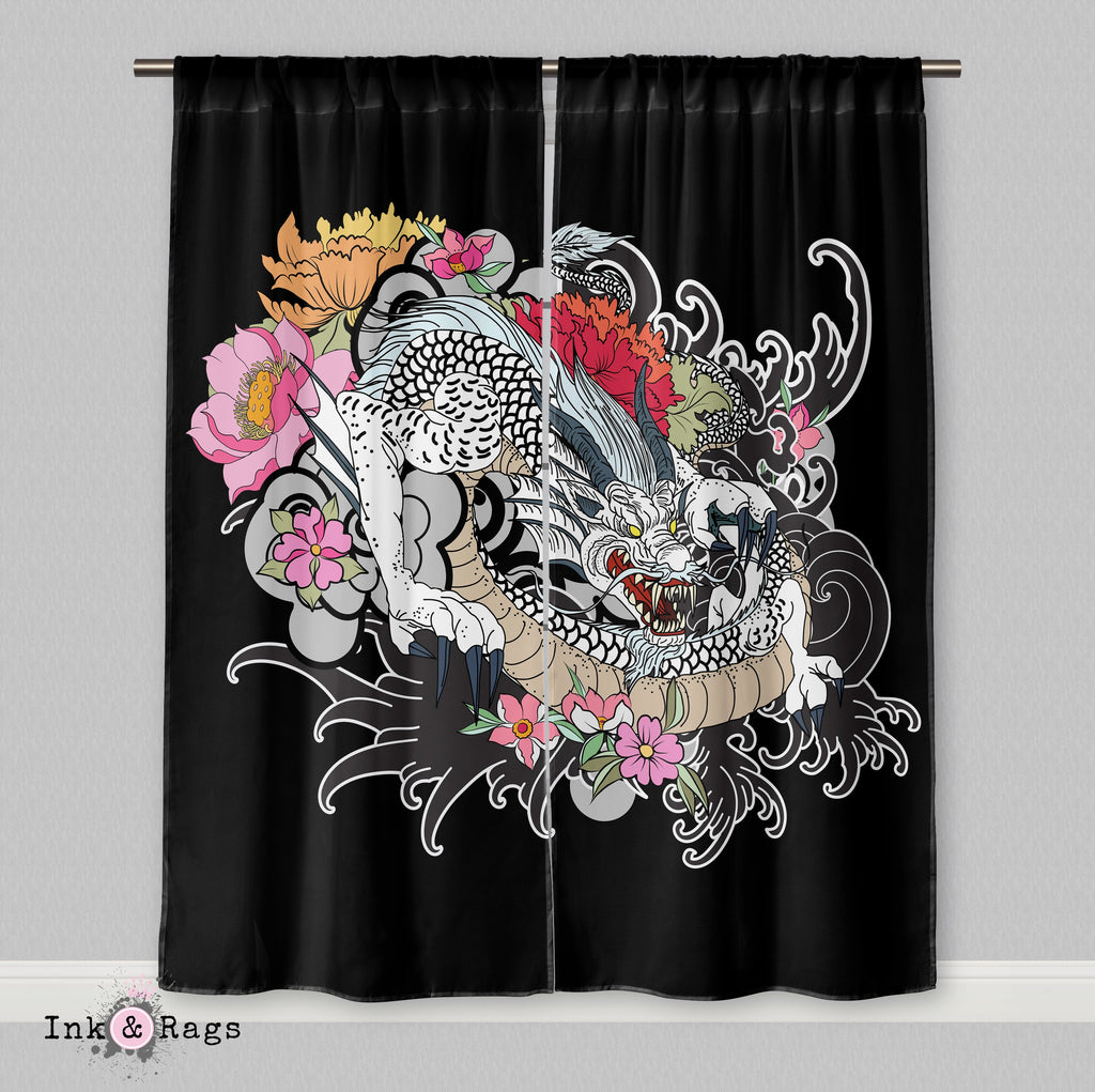 White Dragon Traditional Japanese Tattoo Style Curtains