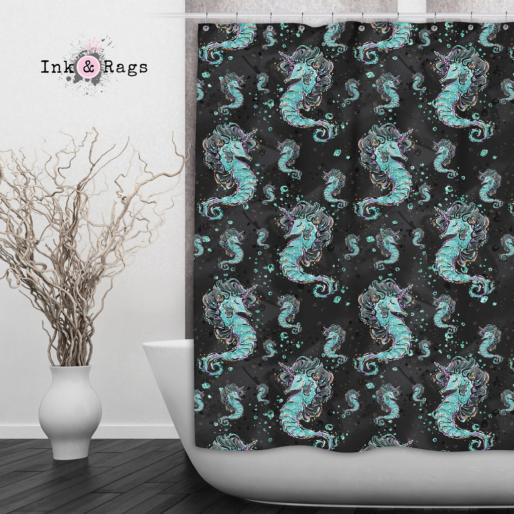 Breakfast At Tiffany Mermaid Seahorse Unicorn Fashion Shower Curtains and Optional Bath Mats