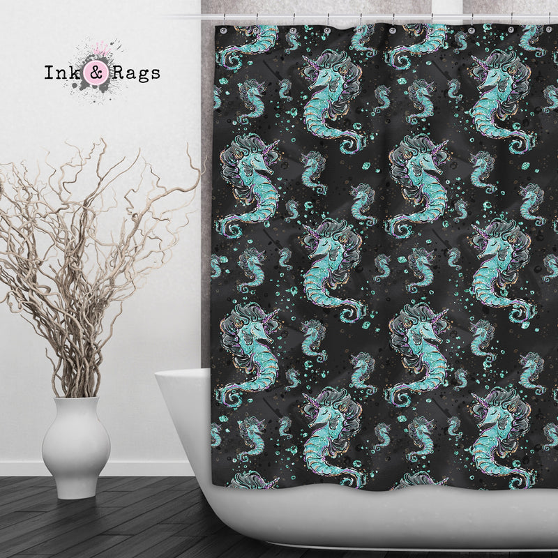 Breakfast At Tiffany Mermaid Seahorse Unicorn Fashion Shower Curtains and Bath Mats
