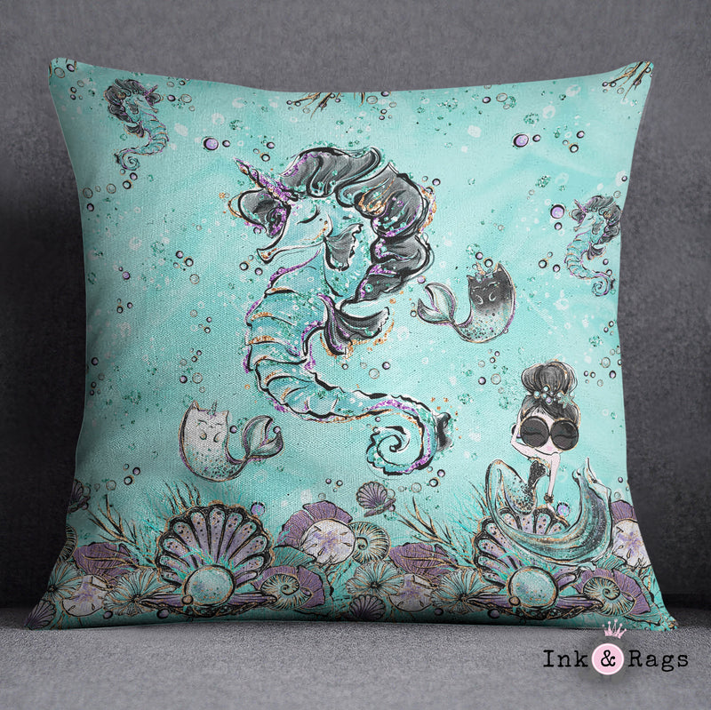 Breakfast At Tiffany Unicorn Seahorse Fashion Decorative Throw and Pillow Cover Set