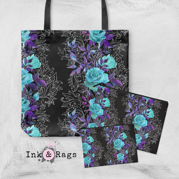 Turquoise and Purple Rose with Hand Drawn Scroll Work Casual Tote OR Cosmetic Pouches