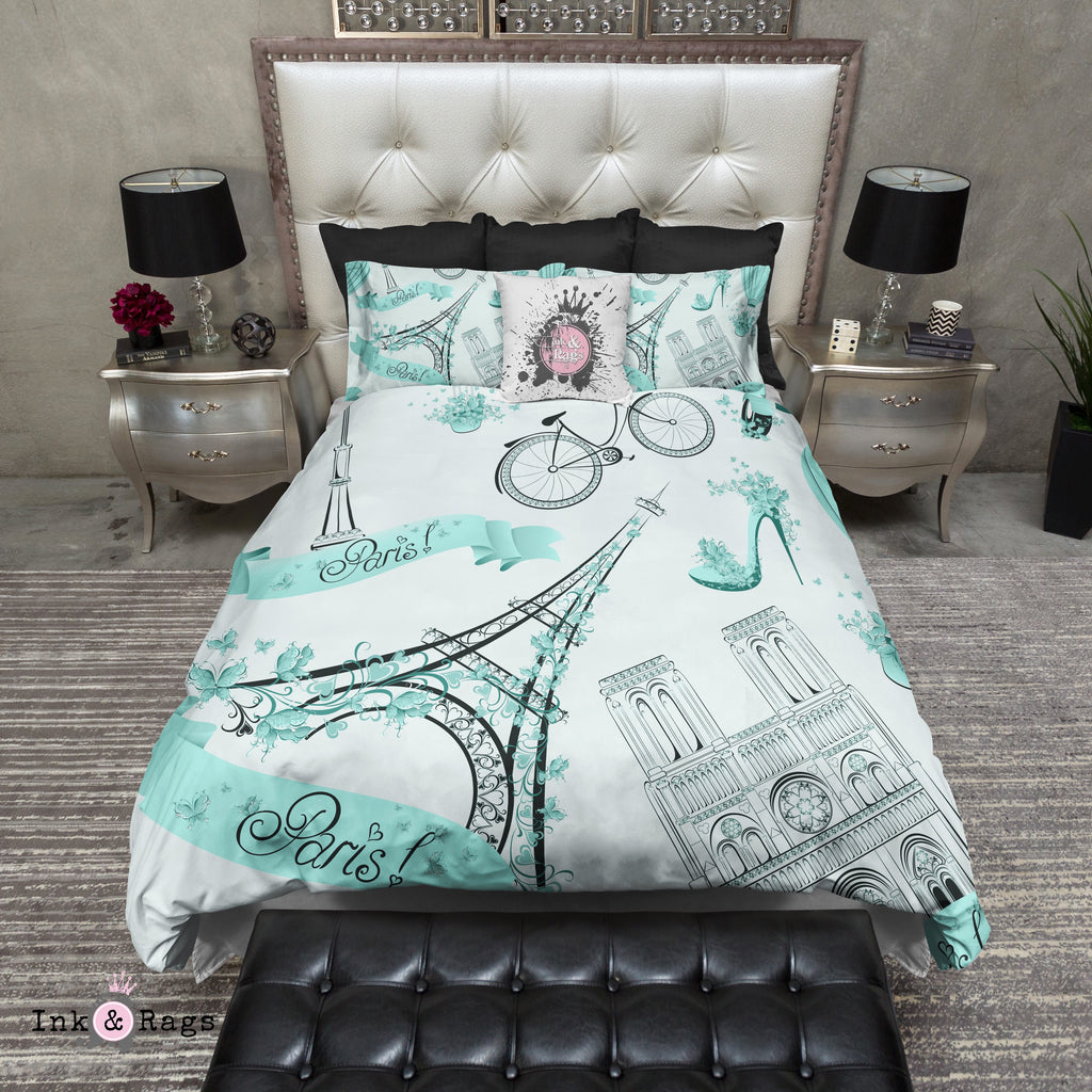 Robin Egg Blue Whimsy in Paris Bedding Collection