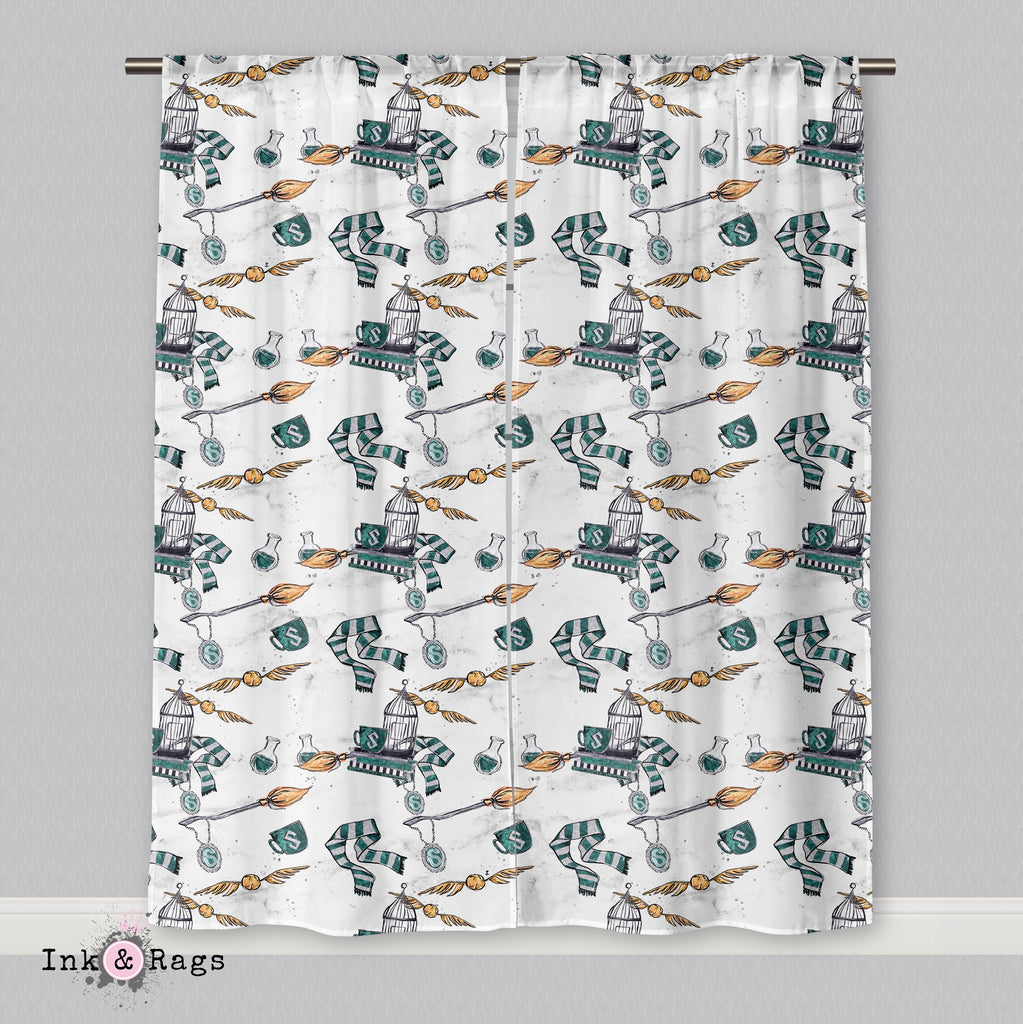House of Slytherin White Curtains