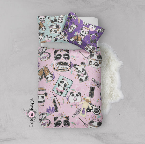 Panda Girl Fashion Crib and Toddler Size Comforter Sets