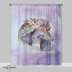 Lavender Fruit Bat Moon and Flower Curtains or Sheers
