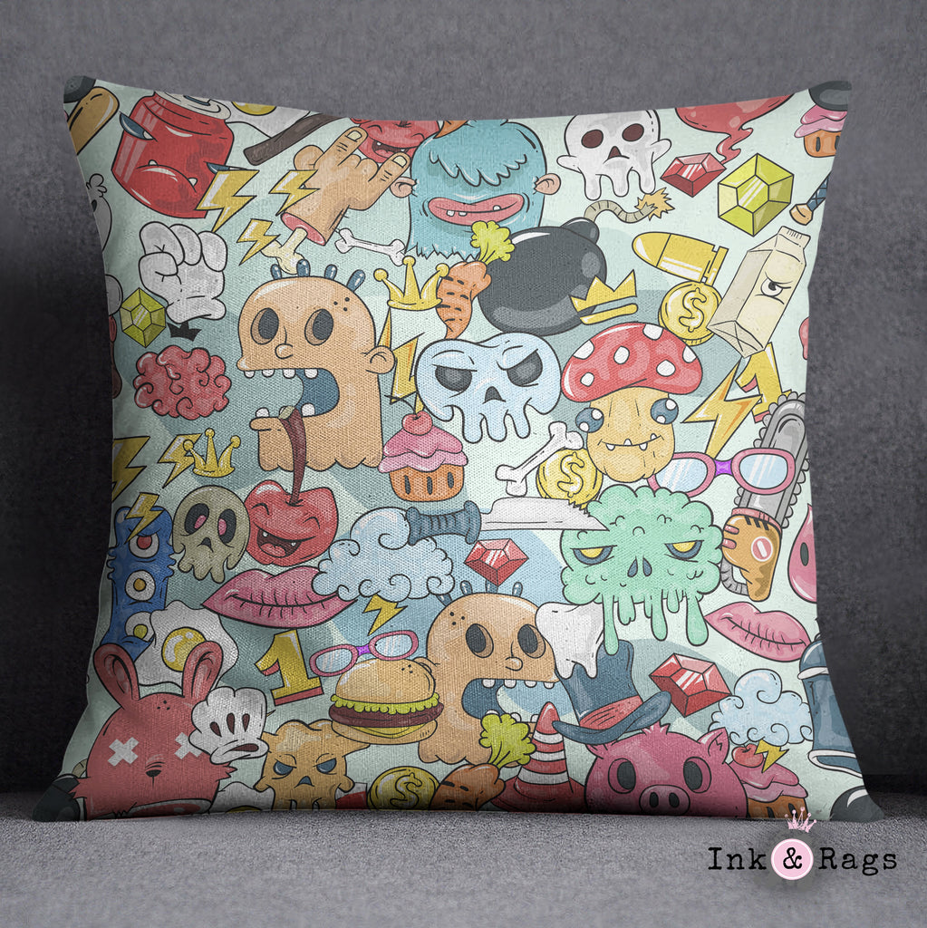 Monster Mash Graffiti Cartoon Monster and Skull  Decorative Throw Pillow Cover