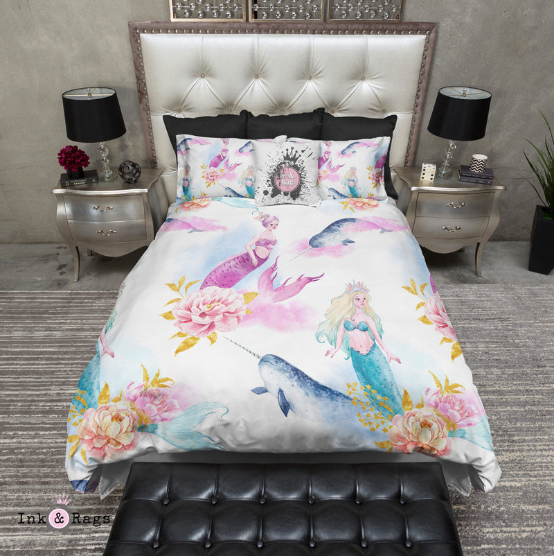Watercolor Mermaid Narwhal and Peony Bedding