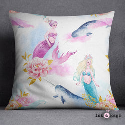 Watercolor Mermaid Narwhal and Peony Decorative Throw Pillow Cover