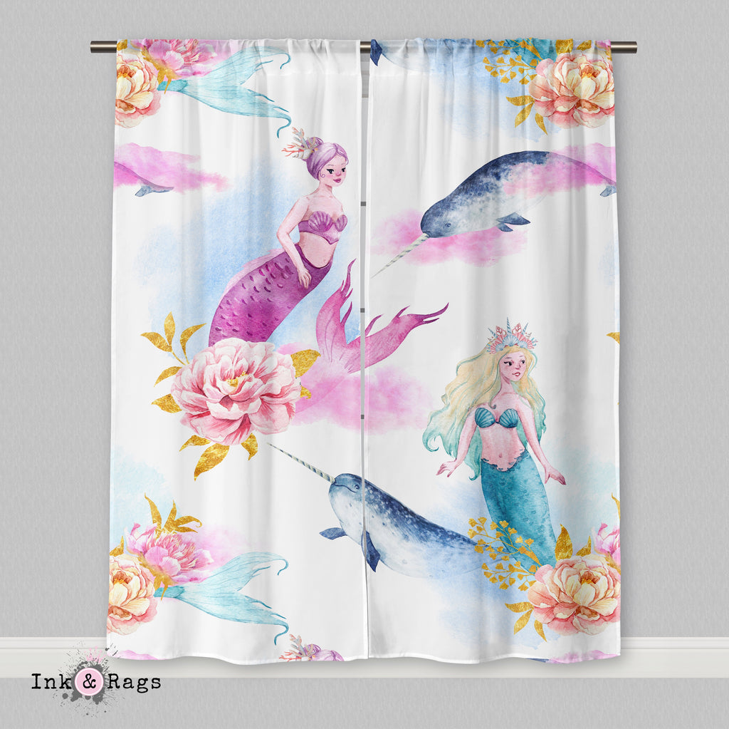 Watercolor Mermaid Narwhal and Peony Curtains