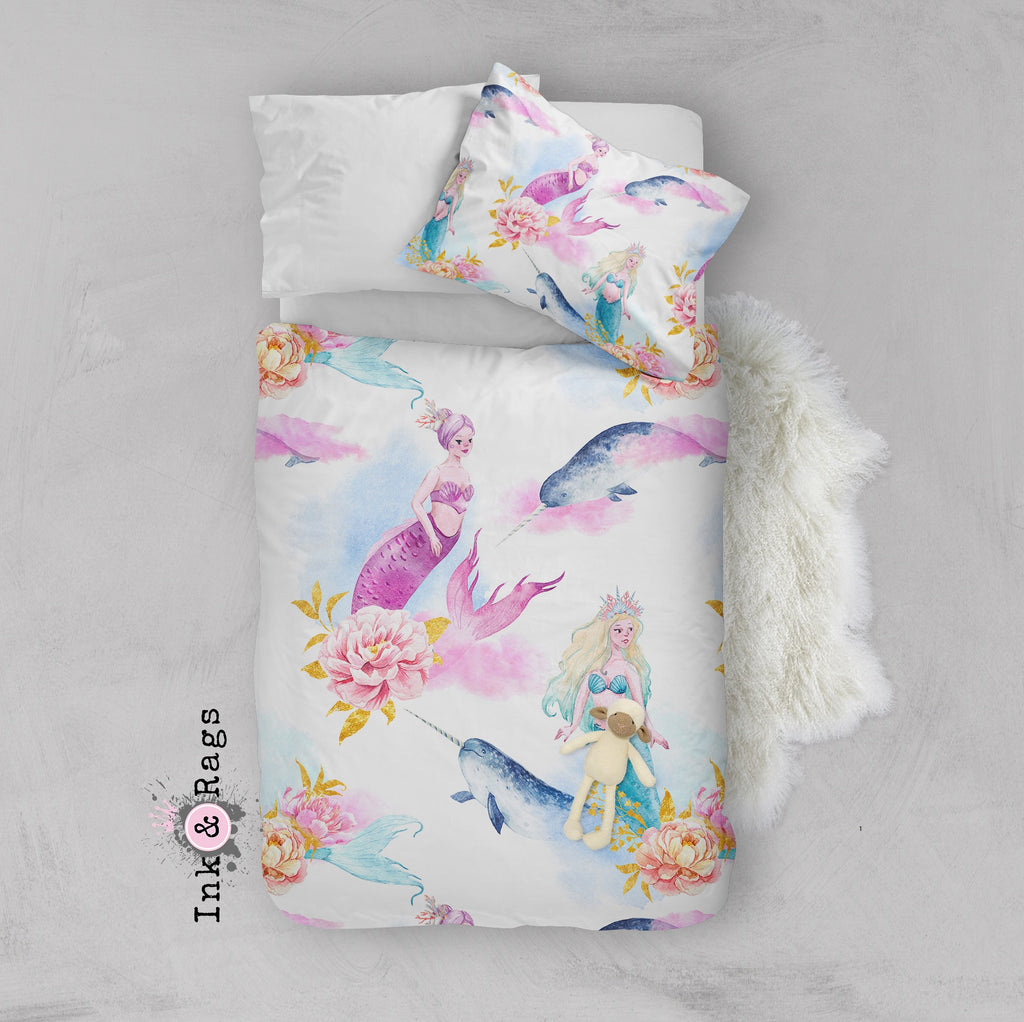 Watercolor Mermaid Narwhal and Peony Crib and Toddler Bedding