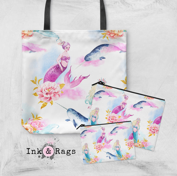 Watercolor Mermaid Narwhal and Peony Casual Tote OR Cosmetic Pouches