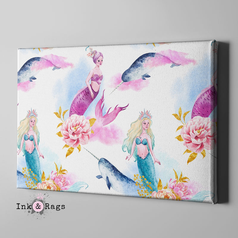 Watercolor Mermaid Narwhal and Peony Gallery Wrapped Canvas