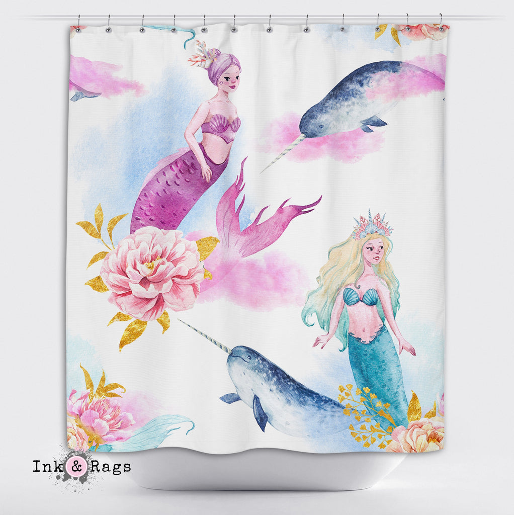 Watercolor Mermaid Narwhal and Peony Shower Curtains and Optional Bath Mats