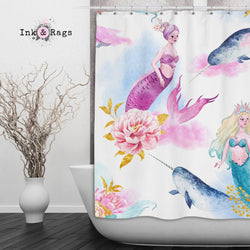 Watercolor Mermaid Narwhal And Peony Shower Curtain