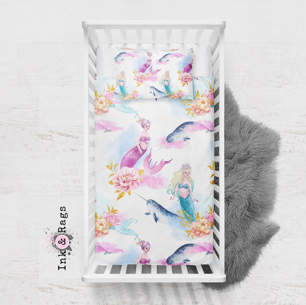 Watercolor Mermaid Narwhal and Peony Crib and Toddler Bedding Collection