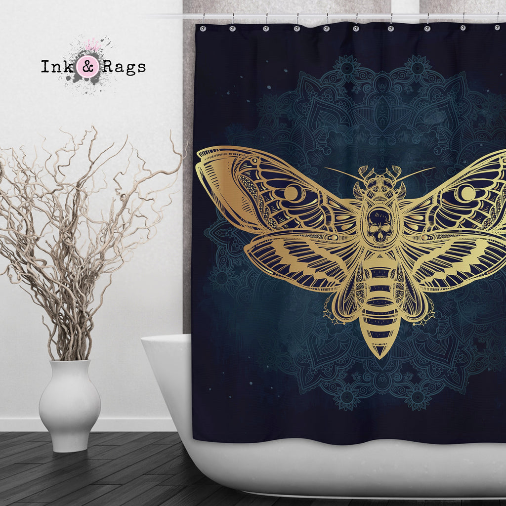Boho Midnight Mandala Death Moth Skull Shower Curtains and Optional Bath Mats