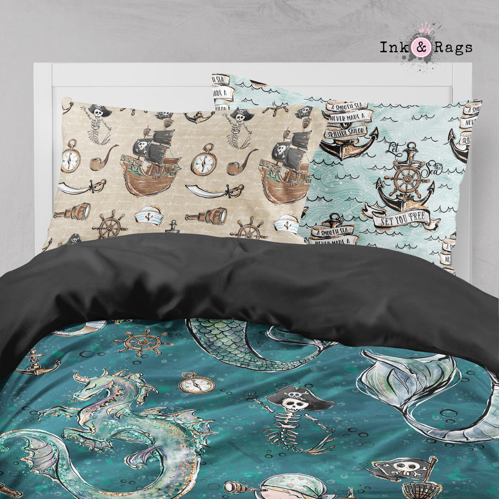 Majestic Merman and Merboy Pirate Dragon Big Kids Bedding