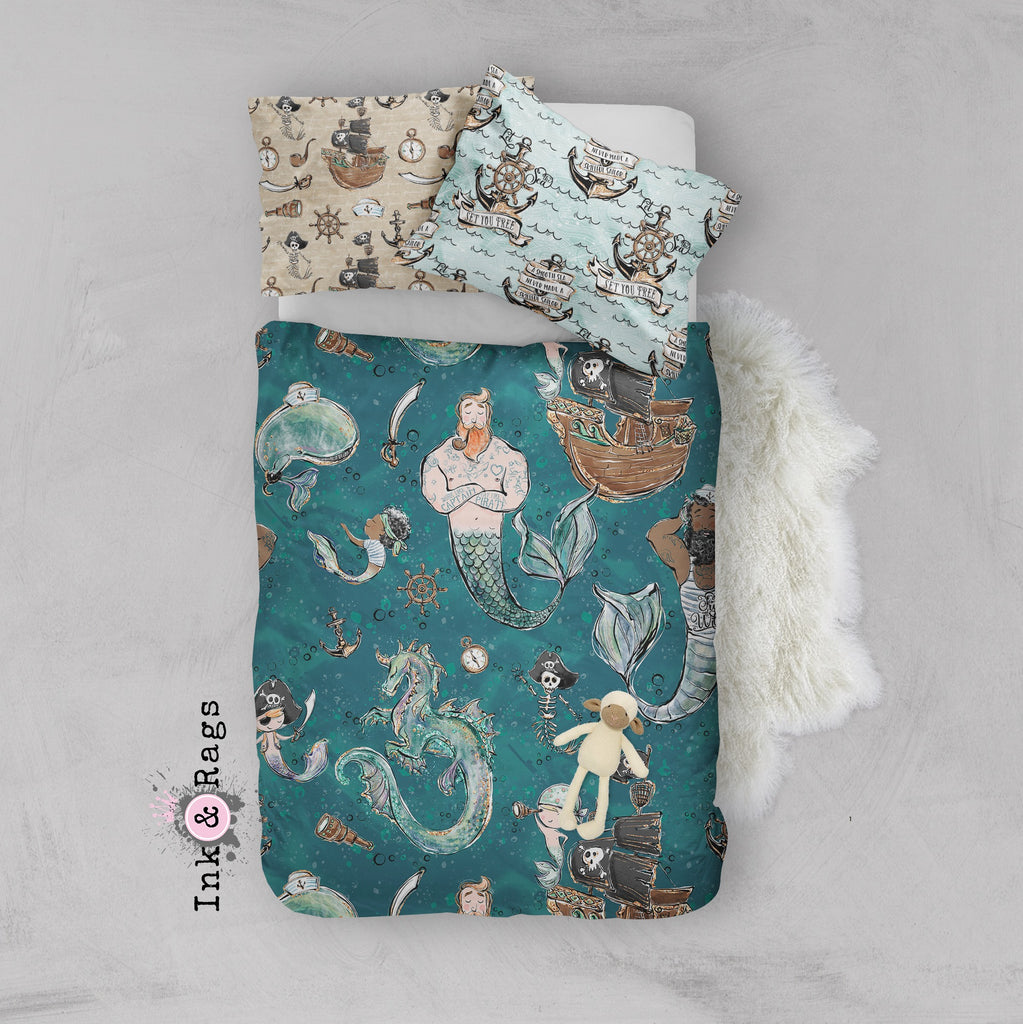 Majestic Merman and Merboy Pirate Dragon Crib and Toddler Size Comforter Sets