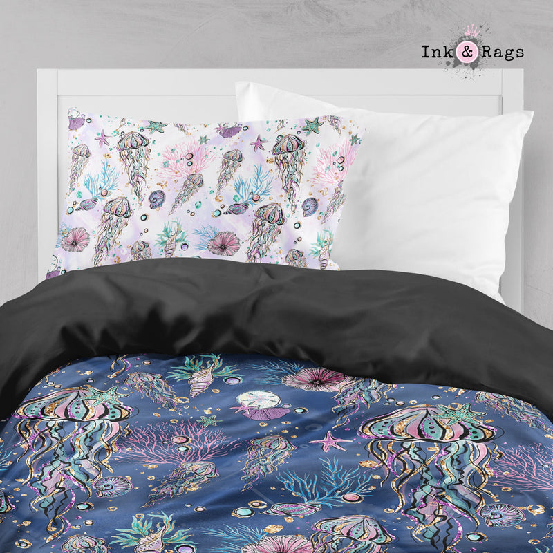 Glitz and Glam Jellyfish Sea Shell Crib and Toddler Size Comforter Sets