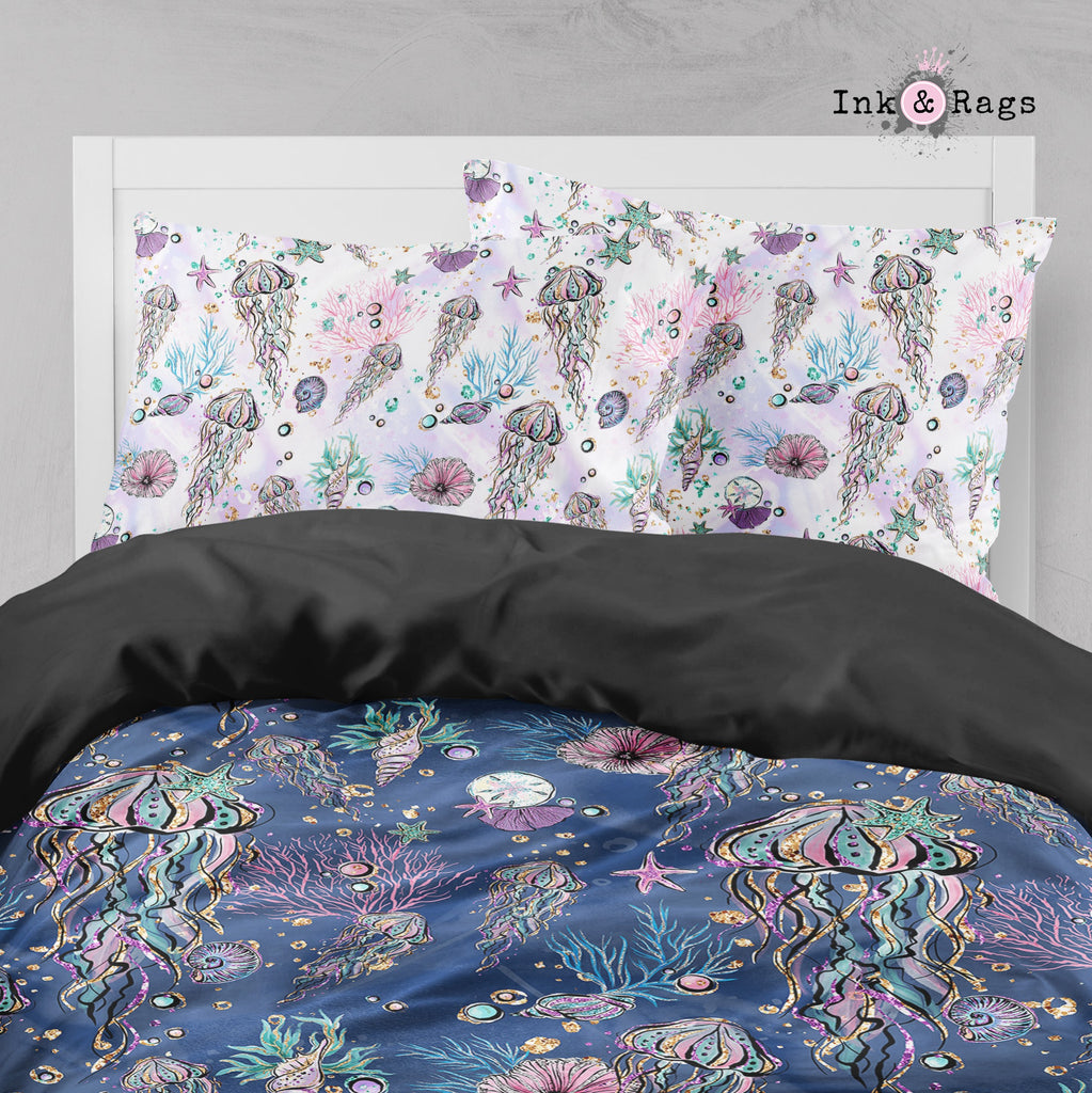 Glitz and Glam Jellyfish Sea Shell Big Kids Bedding