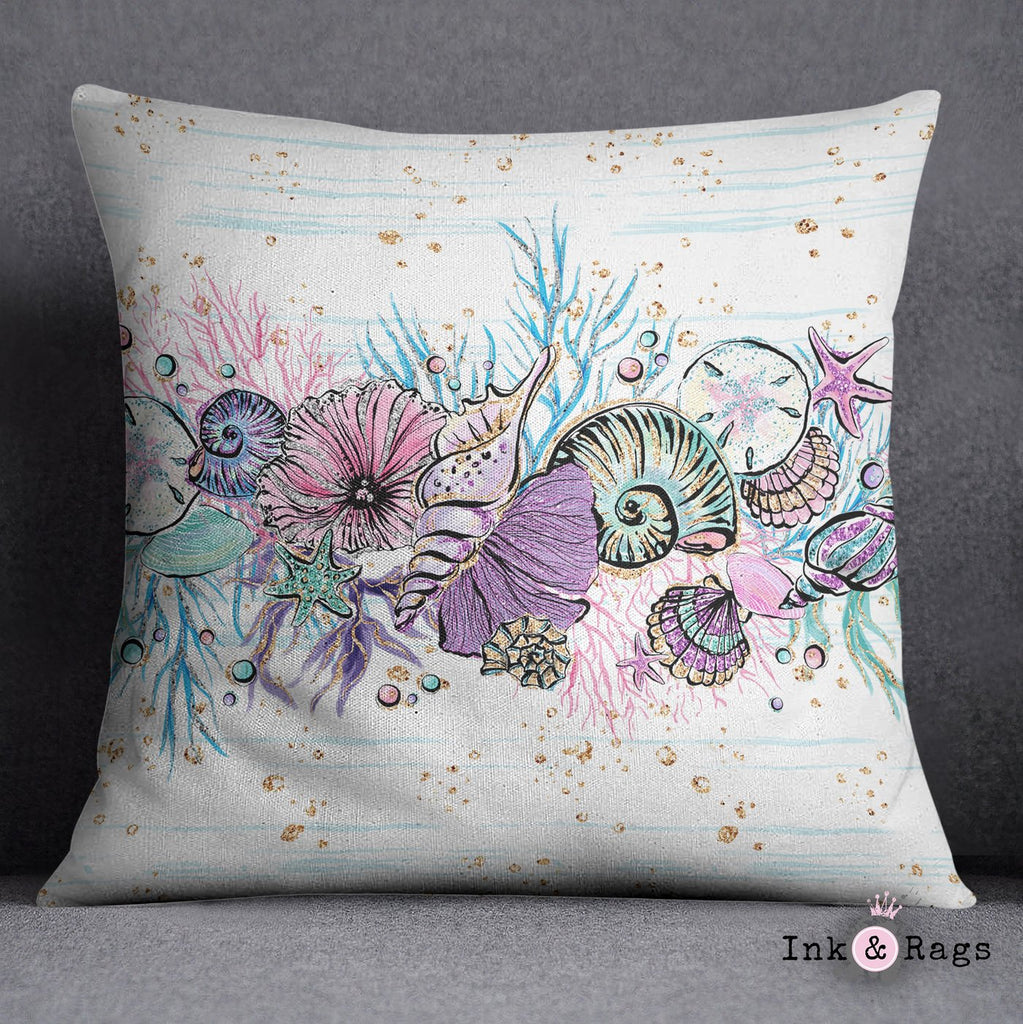 Glitz and Glam Jellyfish Sea Shell Decorative Throw Pillow Cover