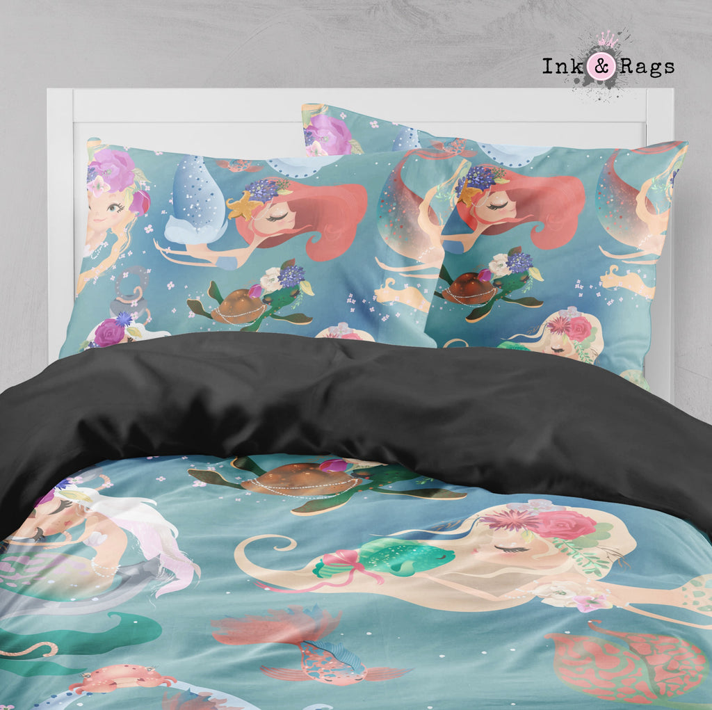 Delightful Mermaids and Turtle Friend Big Kids Bedding