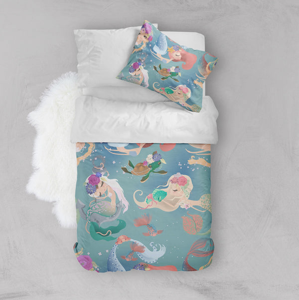 Delightful Mermaids and Turtle Friend Crib and Toddler Size Comforter Sets