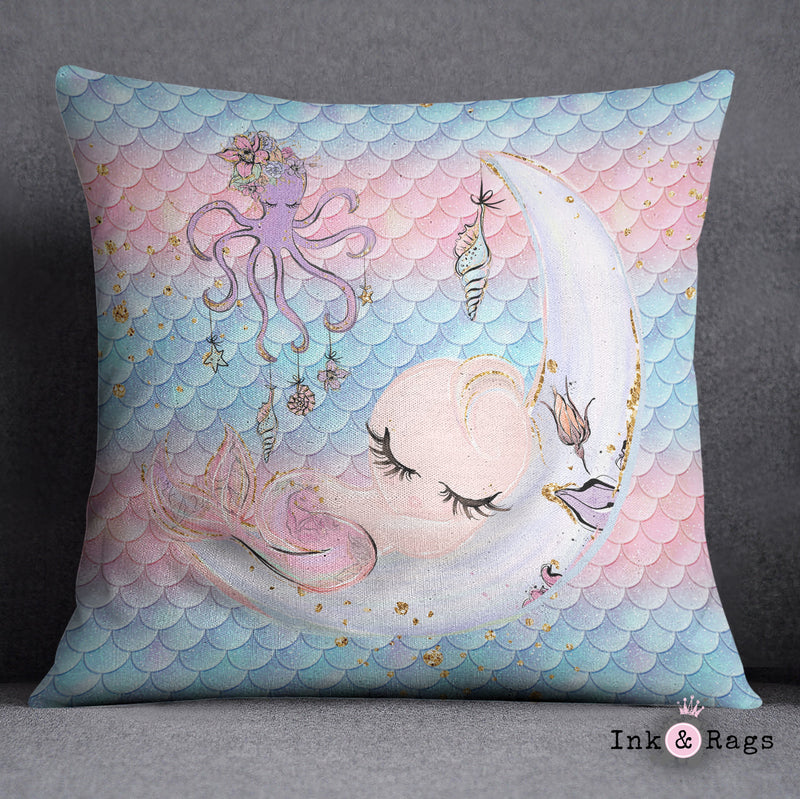 Baby Mermaid Dreams Decorative Throw Pillow Cover