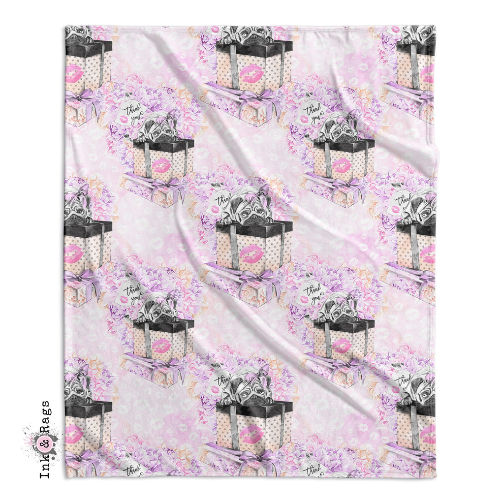 IN STOCK SAMPLE Pug Love Minky Throw
