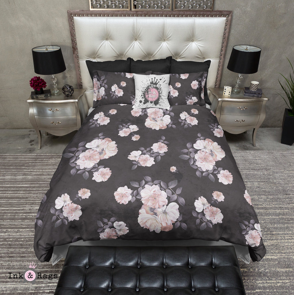 Vintage Black and Pink Distressed Watercolor Rose Bedding