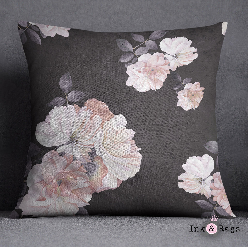 Vintage Black and Pink Distressed Watercolor Rose Decorative Throw Pillow Cover