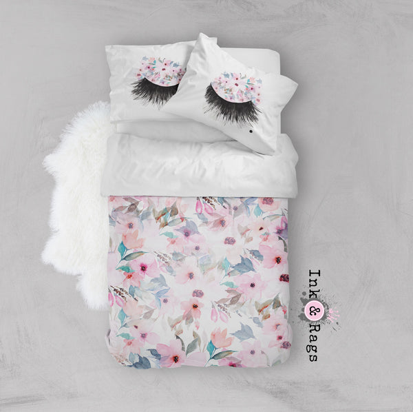 Lips and Lashes Pink Watercolor Flower Crib and Toddler Size Comforter Sets