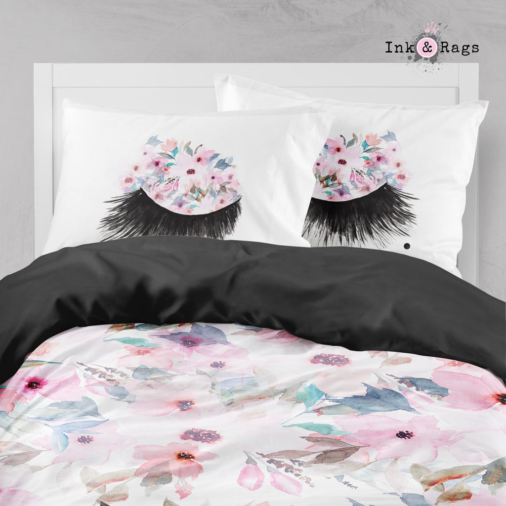 Lips and Lashes Pink Watercolor Flower Big Kids Bedding