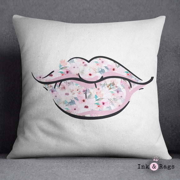Lips and Lashes Pink Watercolor Flower Decorative Throw Pillow
