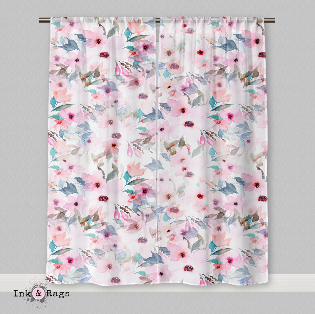 Lips and Lashes Matching Pink Watercolor Flower Curtains