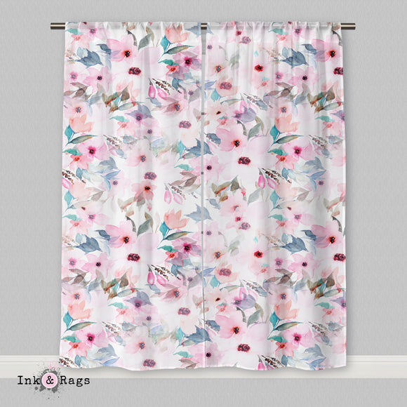 Lips and Lashes Matching Pink Watercolor Flower Curtains or Sheers