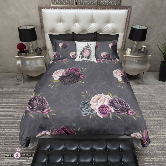 Forget Me Not Gothic Purple Rose Scroll Bedding