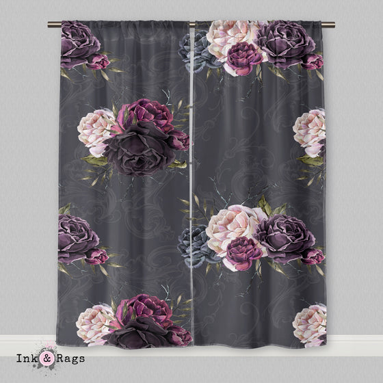 Forget Me Not Gothic Purple Rose Scroll Curtains or Sheers