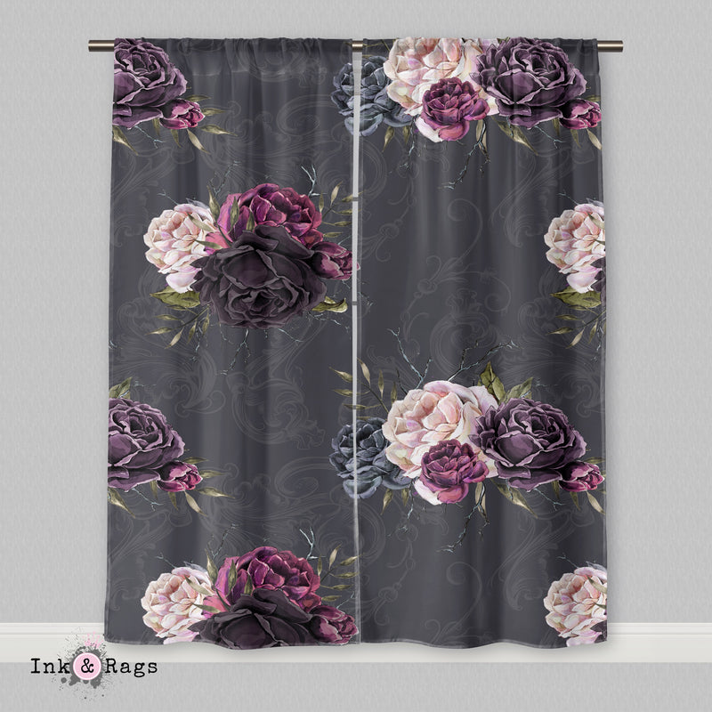 Forget Me Not Gothic Purple Rose Scroll Curtains