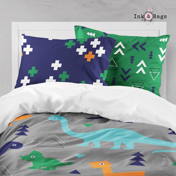 BGO Geometric Dino Dinosaur Big Kids Bedding