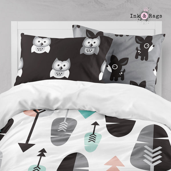 Arrow Owl and Deer Woodland Big Kids Bedding