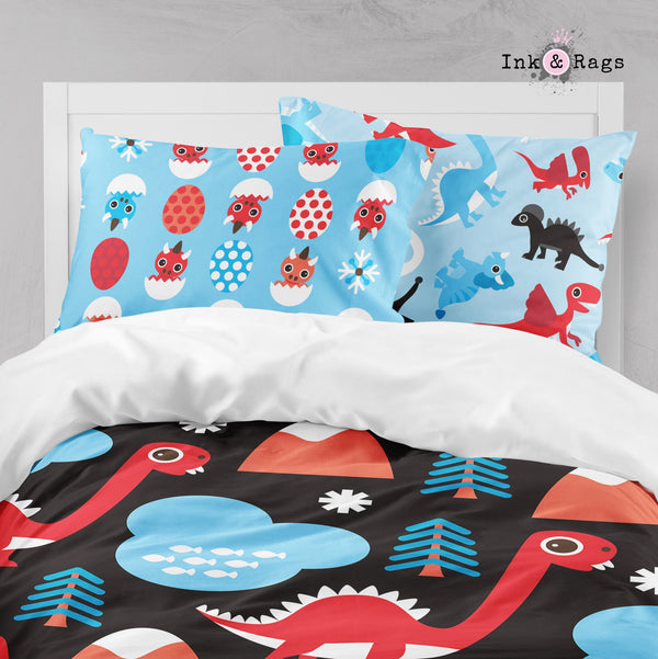 Blue and Red Dino Dinosaur Big Kids Bedding