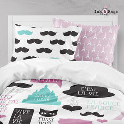 Soft Pink Paris Mustache Bon Jour Big Kids Bedding