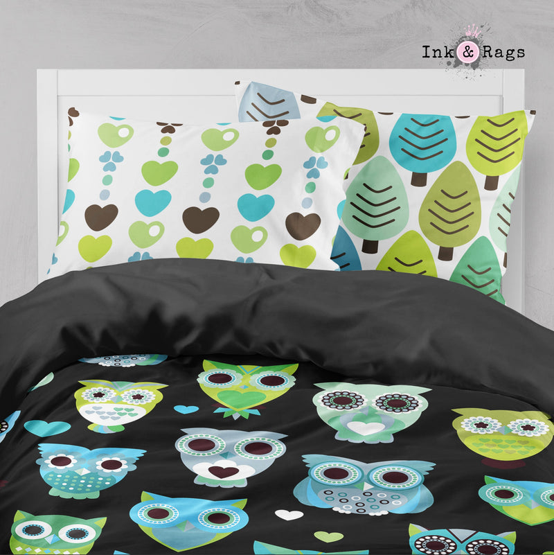 Retro Blue Green Owl Big Kids Bedding